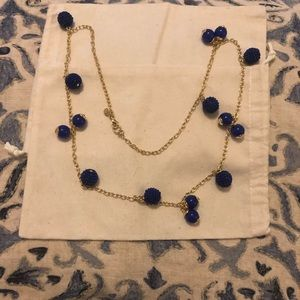 Long blue and gold necklace